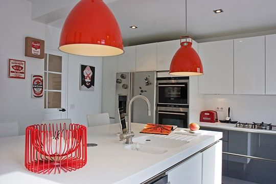 cuisine rouge et blanc Home Deco Pinterest