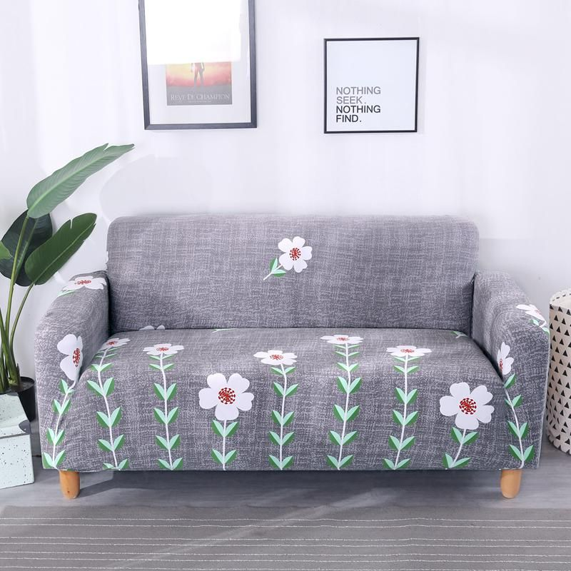 2018 New Cheap Grey Pastoral Style Flowers L Shape Sofa Covers Elastic Couch Corner Sofa Slipcover Home Decor Slipcovered Sofa Slipcovers Corner Sofa Slipcover
