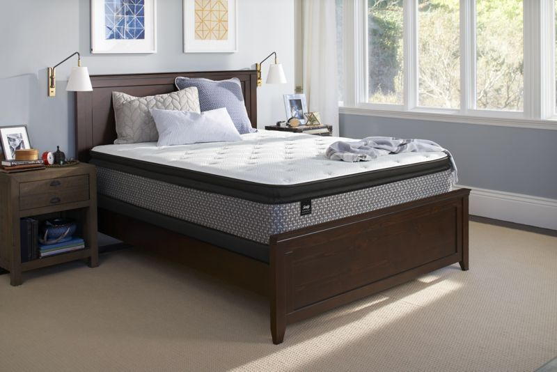 "Set Sealy Response Essentials 13/"" Plush Euro Pillow Top Mattress"