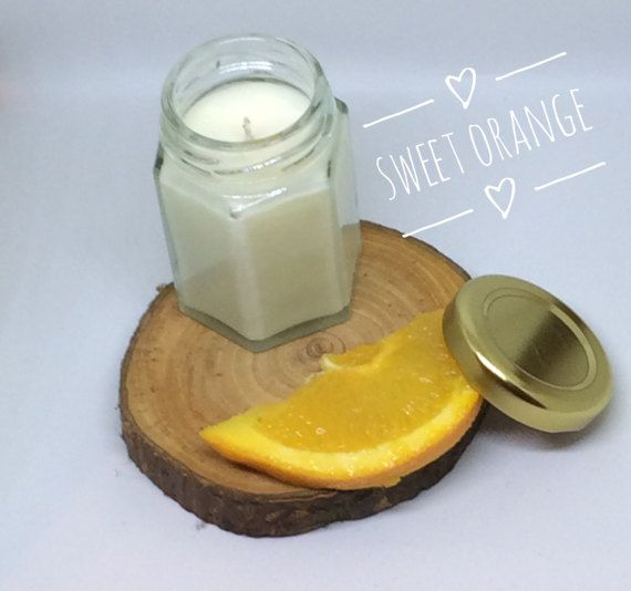 Sweet orange soy wax massage candle by BellecandleBoutique on Etsy