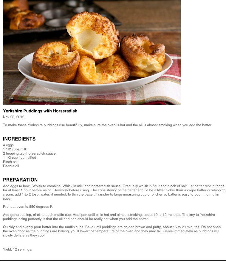 Yorkshire Puddings w/Horseradish