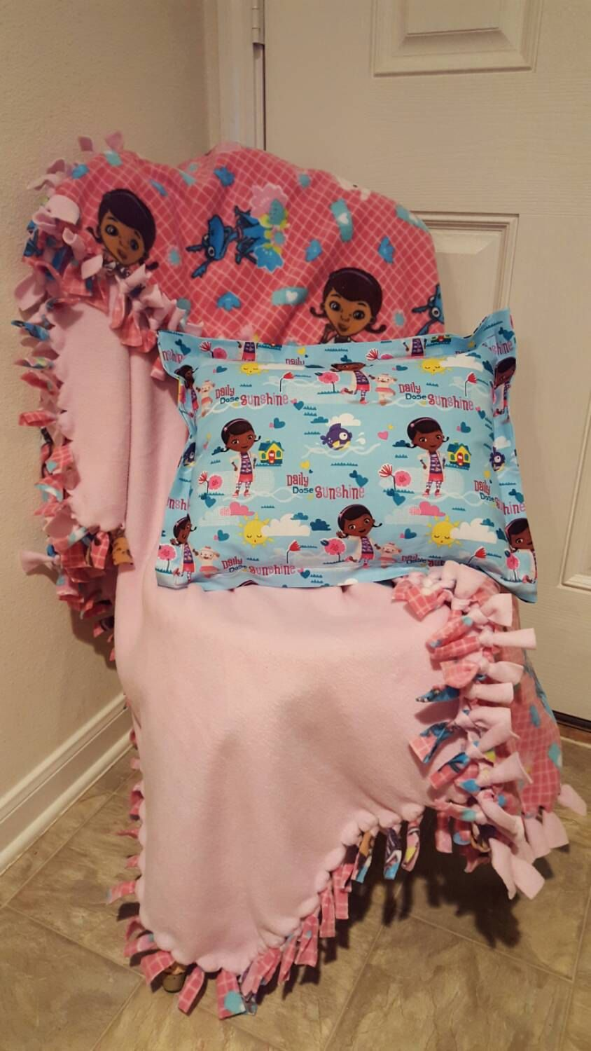Doc mcstuffin knotted fleece blanket with matching fabric pillow
