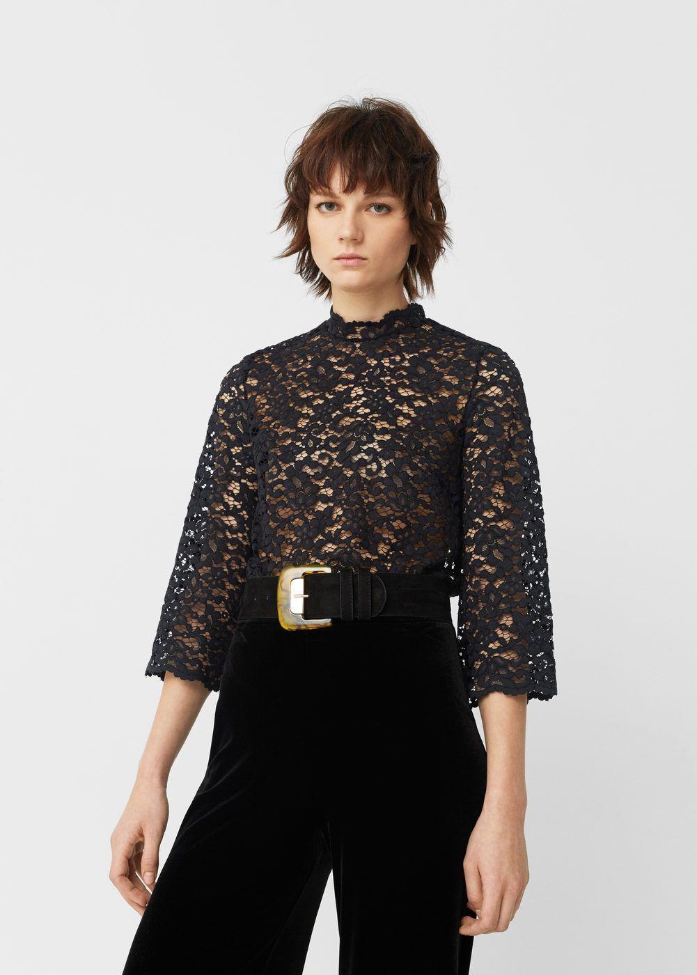 5bd37e1a7a Guipure blouse - Women in 2019 | Cute clothes | Black lace blouse ...