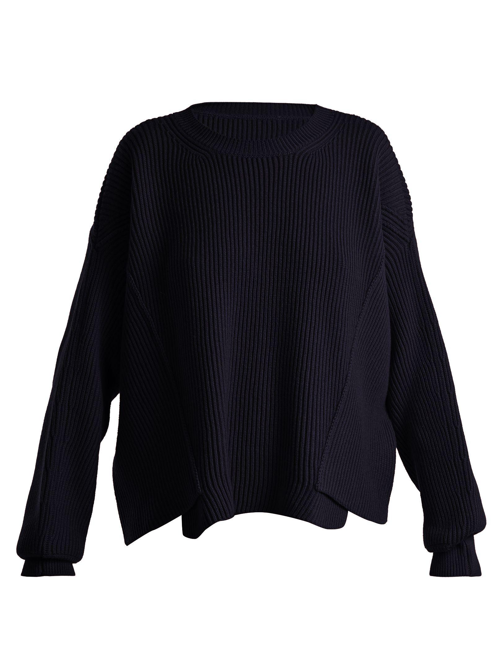 07ae3791910 Asymmetric-hem ribbed-knit wool sweater
