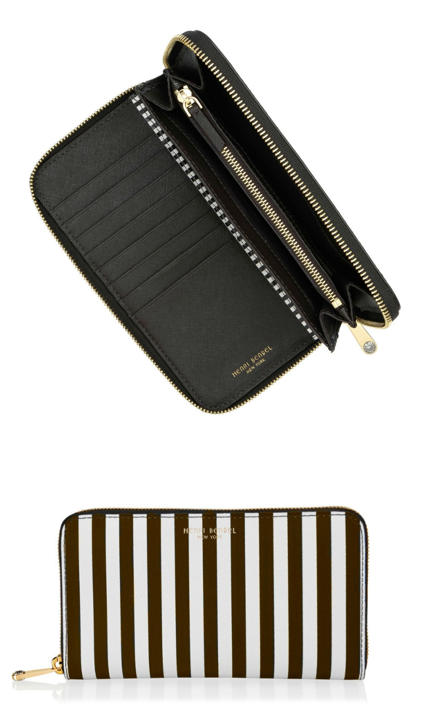 The Centennial Stripe Zip Around Continental Wallet belongs in every Bendel Girl's designer handbag: crafted with chic Saffiano leather and accented with our signature brown and white stripes, this must-have luxury handbag accessory provides plenty of convenient storage and sophisticated style.