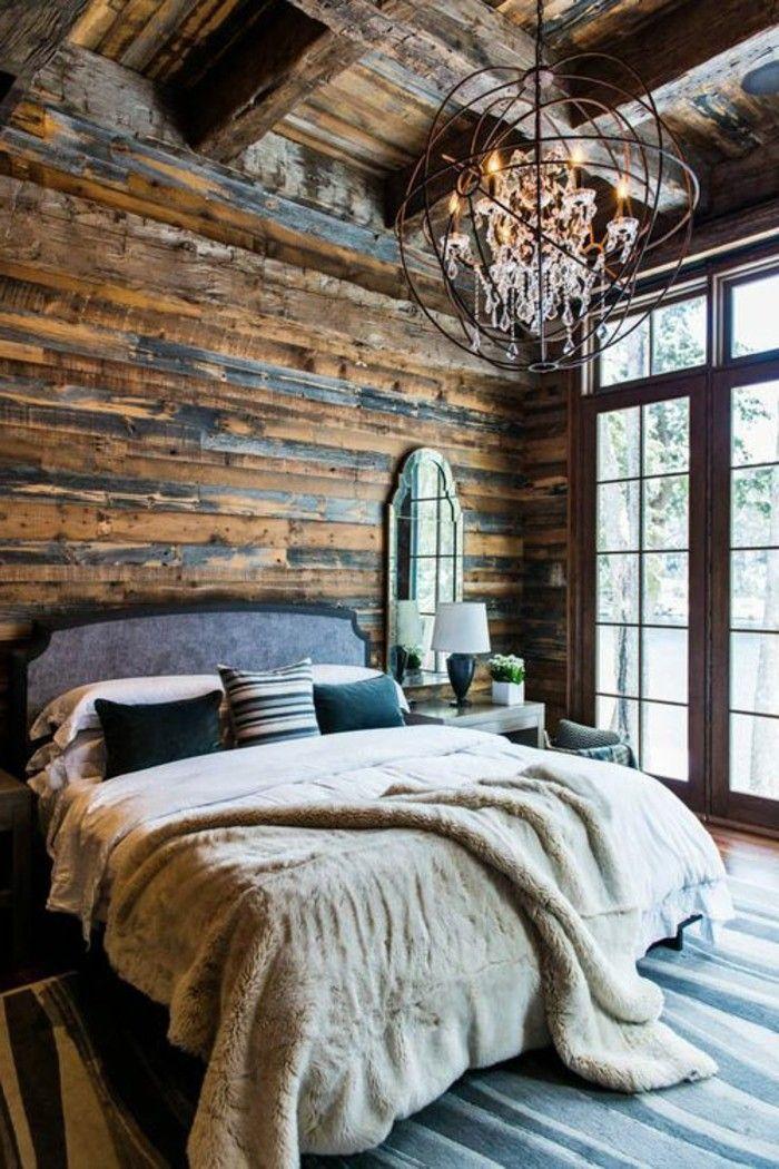 rustikale holzwaende schlafzimmer landhausstil ausgefallene