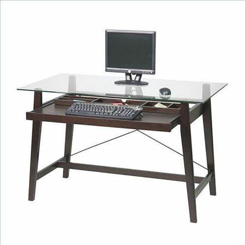 Osp Designs Tribeca Computer Desk Espresso Tri2542g By Osp Designs 225 56 Office Supplies Organizer A Glass Computer Desks Glass Top Desk Glass Desk Office