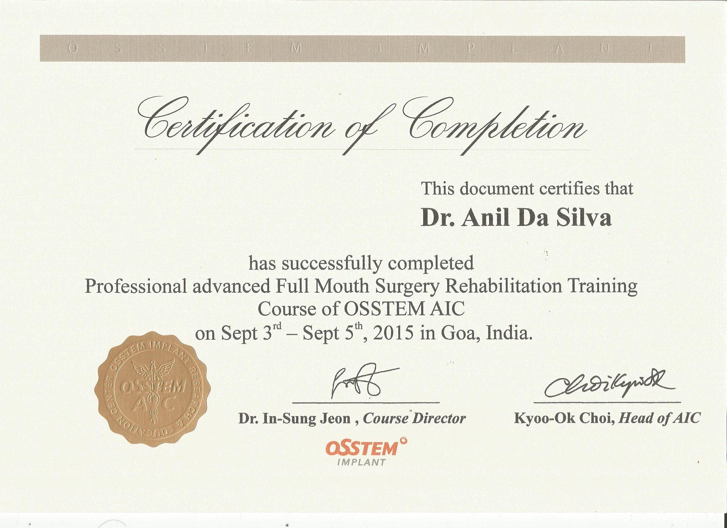 Course Of Osstem Aic 2015 Certificates Pinterest Certificate