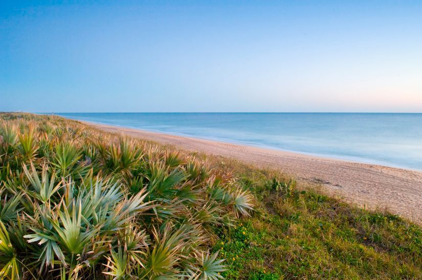 Canaveral national seashore is a barrier island off the