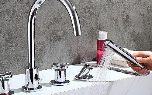 Homelody mélangeur bains douche 4 trous sur gorge robinet mitigeur bains douche bec haut en
