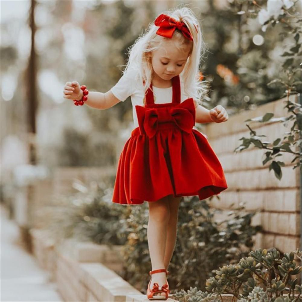 Red Bow Christmas Dress  Girls christmas dresses, Little girl