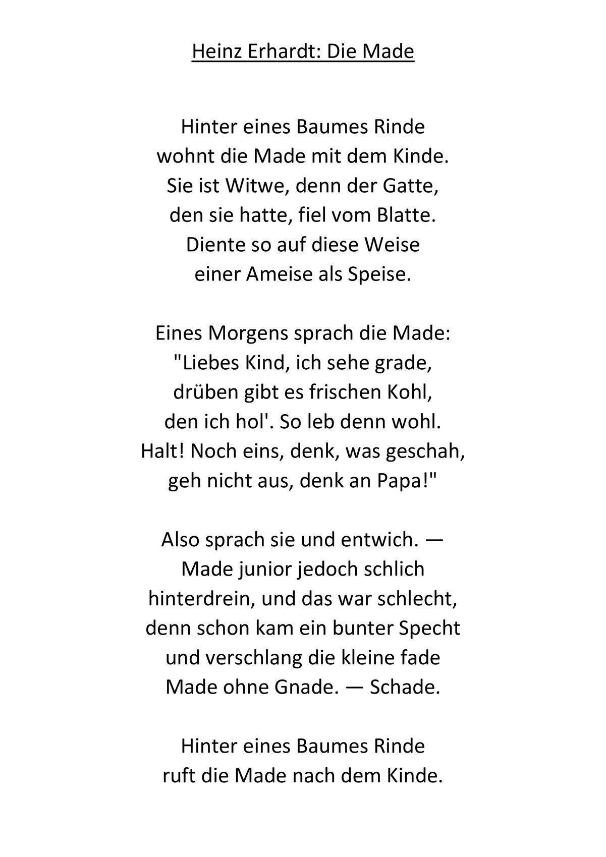 Die Made von Heinz Erhardt Arbeitsblätter | Heinz erhardt