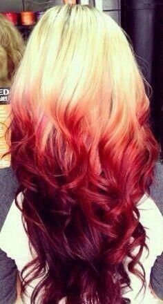 Ok This Is What I Really Want Blonde With Red Tips Hair Color Red Ombre Red Ombre Hair Reverse Ombre Hair