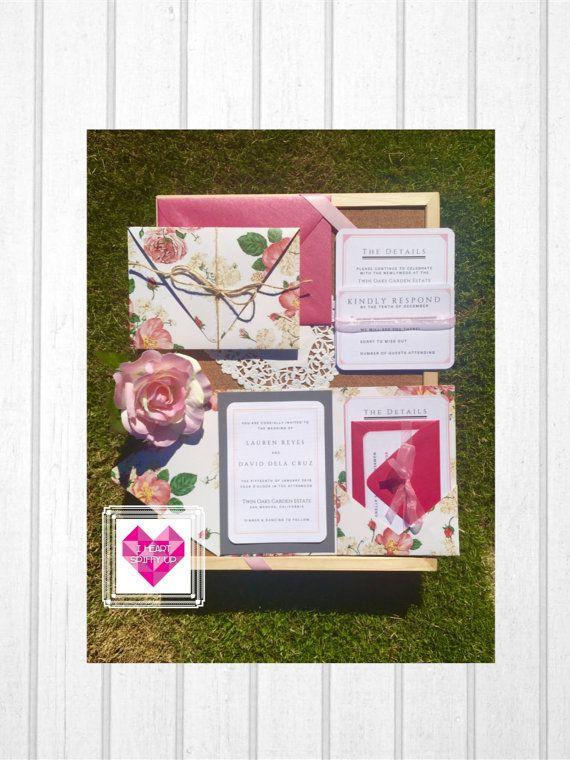 PRINTABLE Pocket Wedding Invitation - Pretty Pink Love Letter - sample love letter
