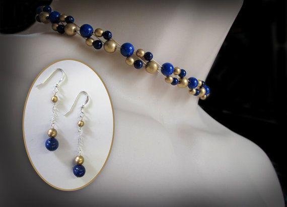 Stunning Lapis Choker and Necklace Set.