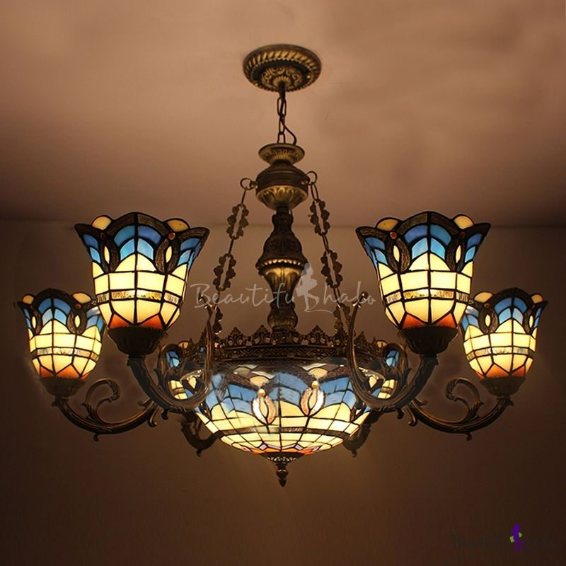 Arabic Style Bronze Finished Blue Stained Glass Tiffany 8Light Endearing Stained Glass Light Fixtures Dining Room Inspiration