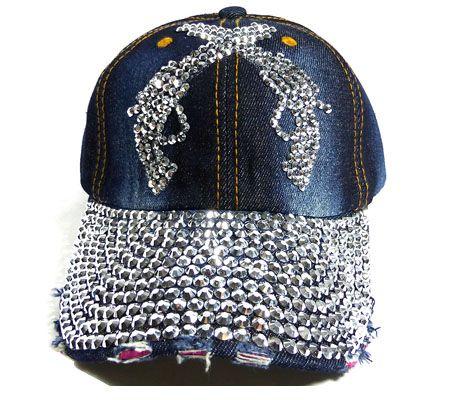 952eeaac2d9 We supply washed womens rhinestone denim baseball hats