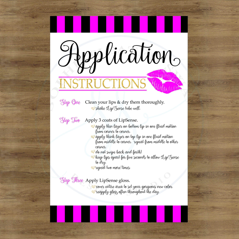 Lipsense Application Cards; Lipsense Tips And Tricks; Lipsense How To Apply  Card; Lip