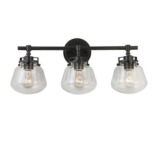 Allen Roth Lyla 3 Light Black Mid Century Vanity Light At Lowe S The 3 Light Matte Black V Black Vanity Light Vanity Lighting Light Fixtures Bathroom Vanity