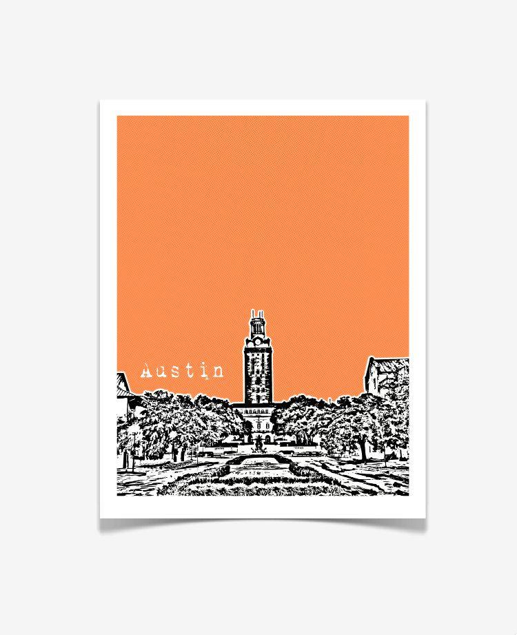 eeaf6868f5588e University of Texas at Austin Poster - Austin Skyline Art - UT Austin The  Tower - 8x10.  20.00