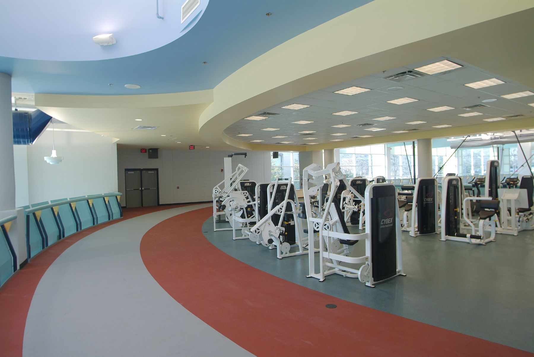 Physical Therapy Room with Machines and Circular Running
