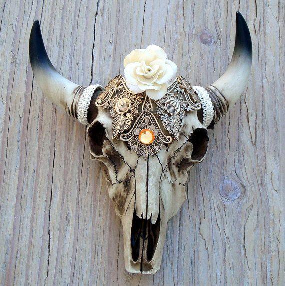 Cow Skull Decor Southwestern Faux Taxidermy Head Western