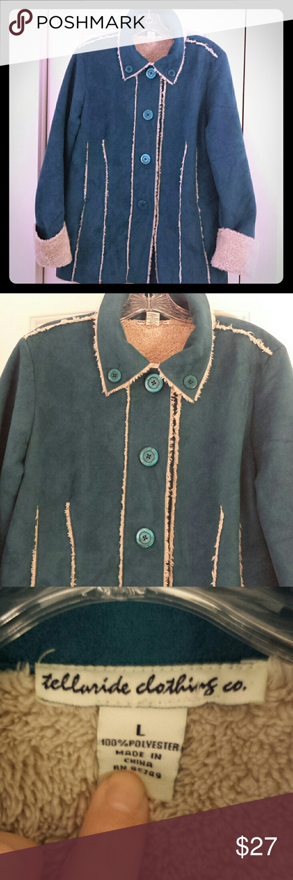 Telluride Clothing Teal Faux Suede Sherpa Jacket L Telluride Clothing Teal Faux Suede Sherpa Jacket Large....Very Unique Color! Front pockets...button front...Like New...hardly worn...no flaws... Telluride Clothing Co Jackets & Coats