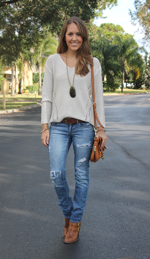 ecf5830ceb5 loose ivory knit pullover sweater + distressed jeans + brown belt + cognac ankle  boots + long chunky pendant necklace