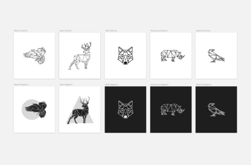 geometric lined animals | #sketch + #pdf + png. use for #logos, Powerpoint templates