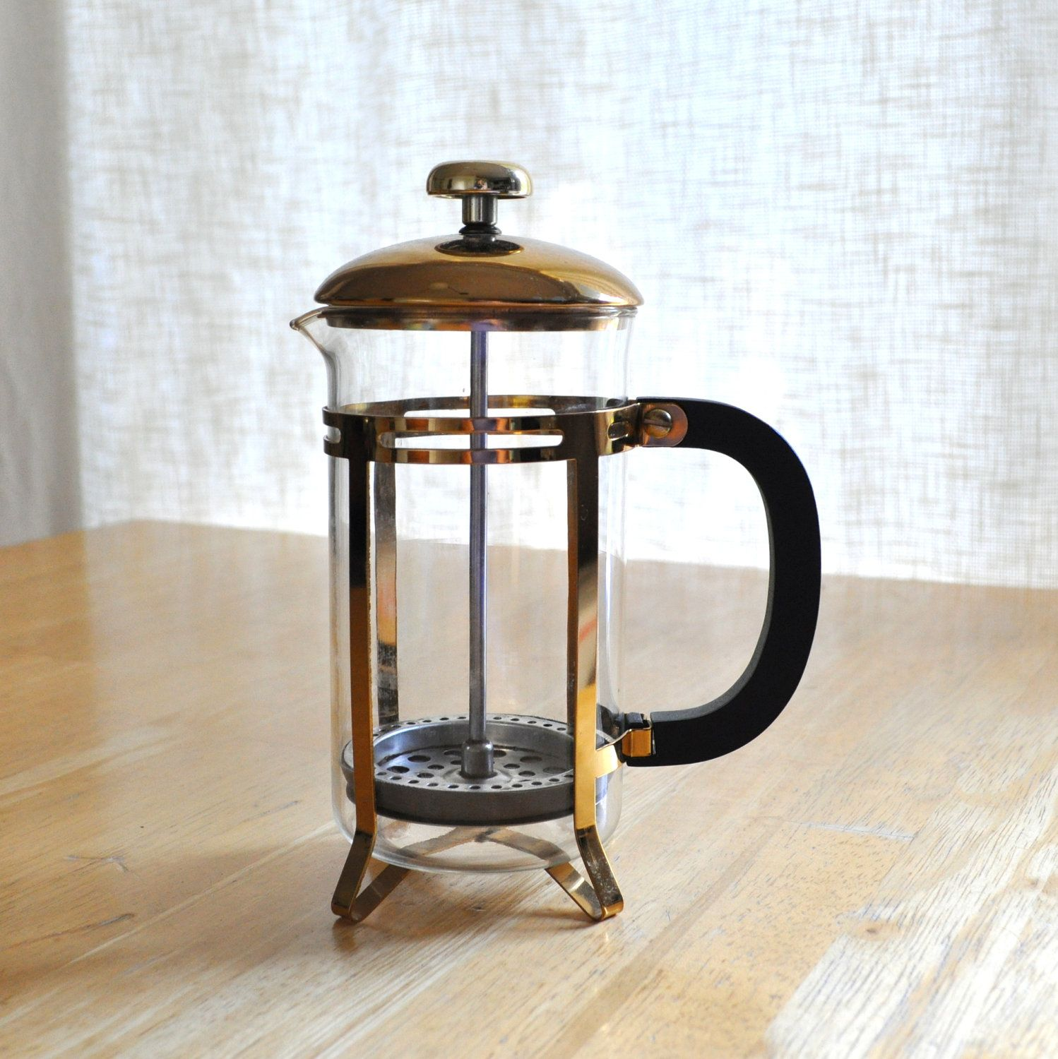 Vintage french press coffee maker with original brochure