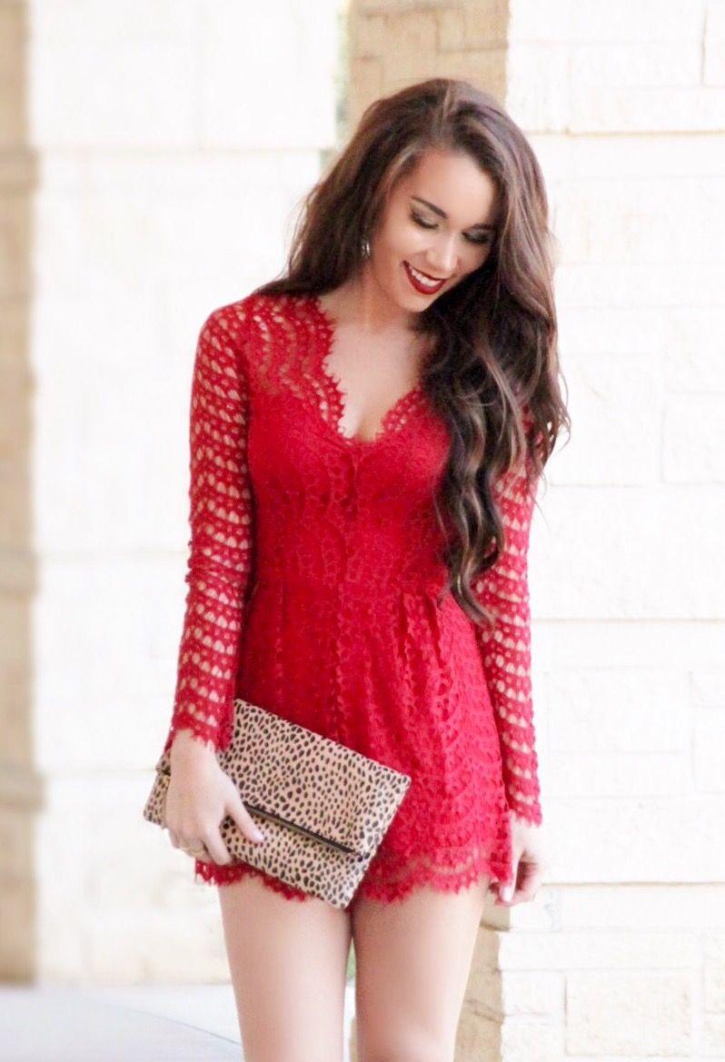 Red Lace Romper - Sunshine & Stilettos Blog