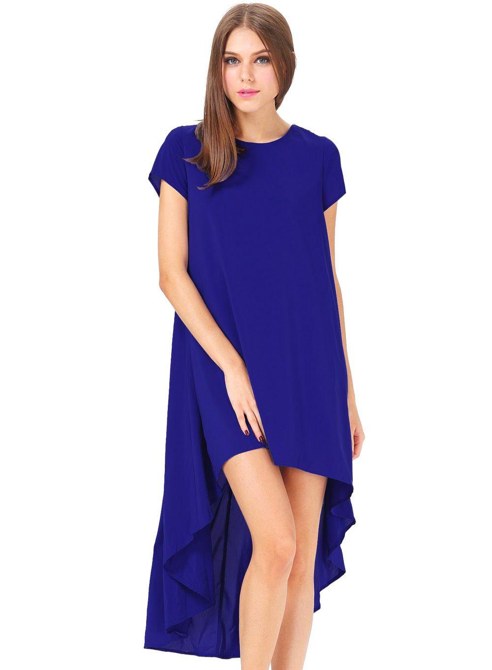 Vestido asimétrico mangas cortas-Azul 17.59   Dresses by aisha ...