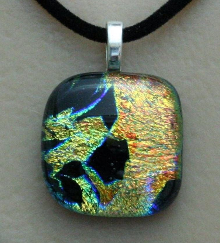 Yellow Orange and Black Fused Glass Dichroic Pendant with adjustable black velvet necklace 1461 by addicted2glassfusion on Etsy https://www.etsy.com/listing/101356955/yellow-orange-and-black-fused-glass
