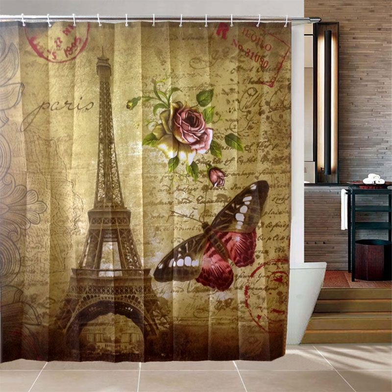 Waterproof Paris Eiffel Tower Bath Curtain With 12 Hooks Bathroom Fabric Bath Shower Curtain Bath Shower Curtain Printed Shower Curtain Stylish Shower Curtain