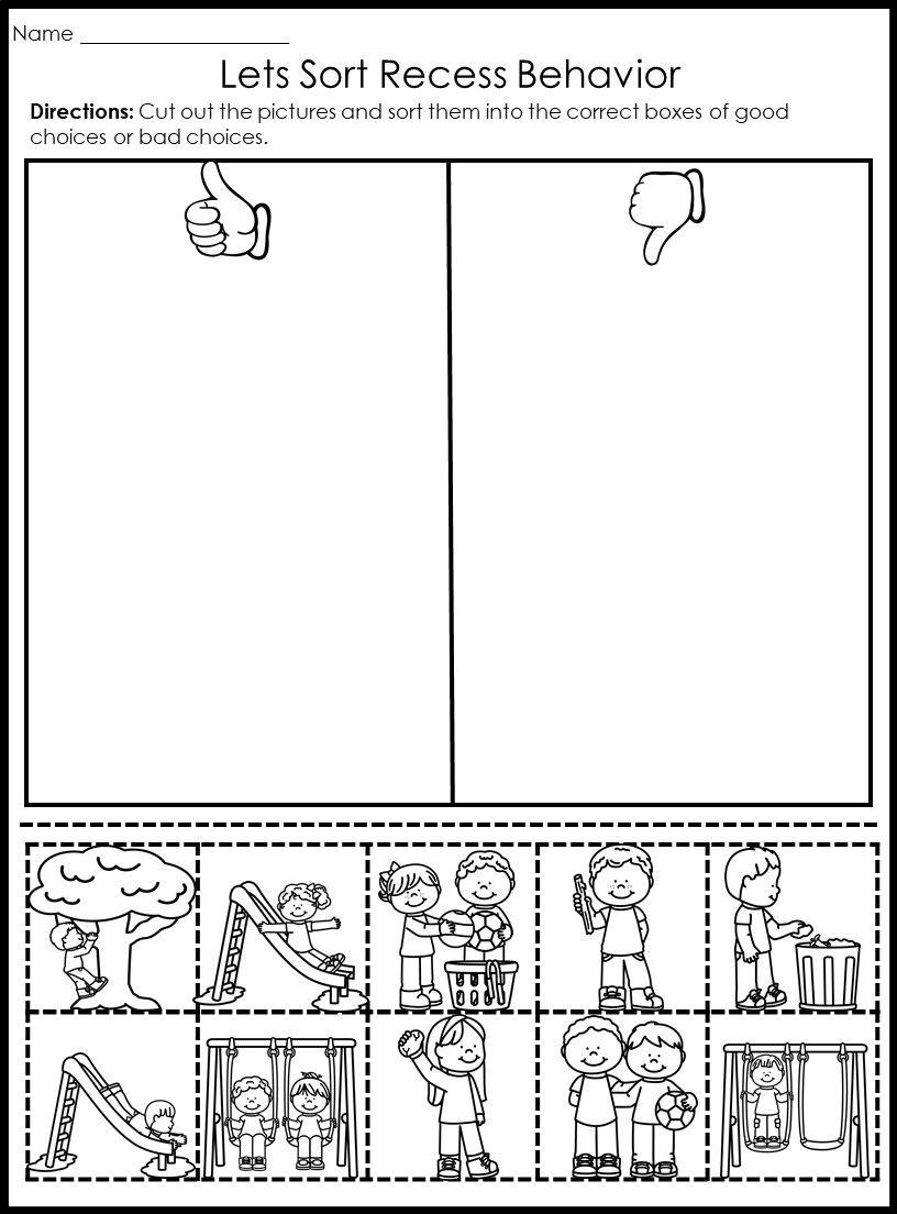 Behavior Picture Sorts Back To School Fun Kindergarten Worksheets Kindergarten Worksheets Preschool Learning Activities [ 1104 x 816 Pixel ]