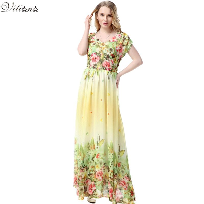 2017 Womens Summer Print Beach Chiffon Dress Big Sizes Elegant Maxi