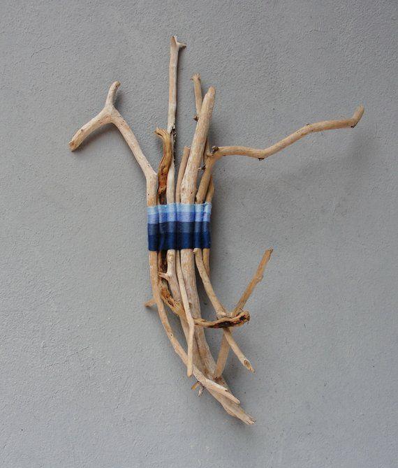 Photo of Natürliche handgewebte Treibholz Sticks, Ombré blau, Meer Ozean Farben, Strand Home Decor, Treibholz Dekor, Glück 7