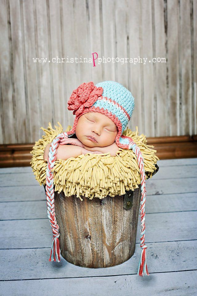 6-12 month girl hat robins egg blue earflap beanie with cherry blossom  stripe and flower 412ac5cae4f0