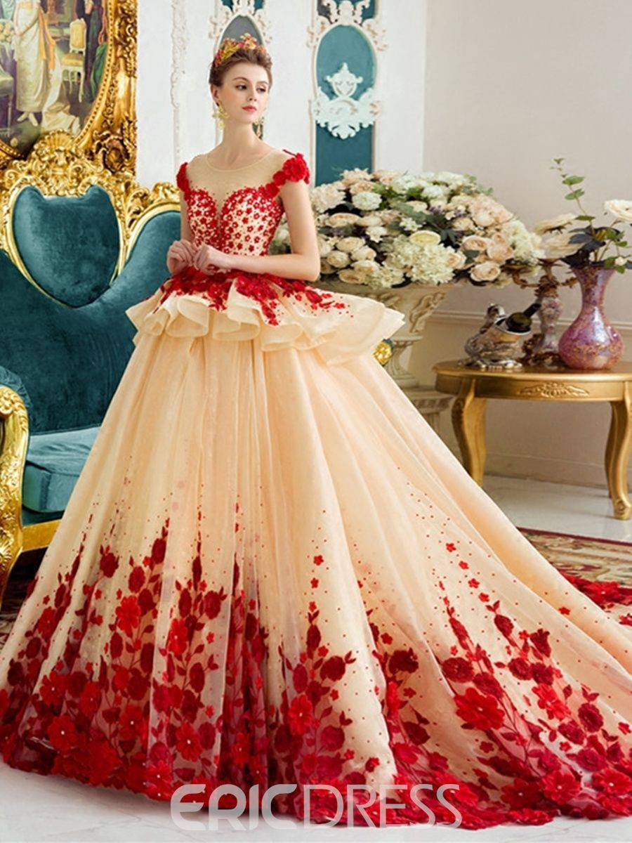 Ericdress Amazing Scoop Ball Gown Color Wedding Dress Vintage Ball Gown Wedding Dresses Ball Gown Wedding Dress Gowns