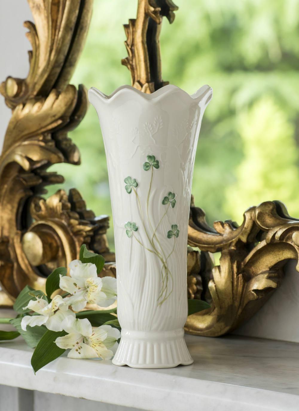 Belleek shamrock woodland vase irish decor belleek