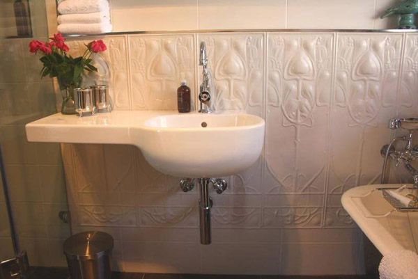 white tin tile bathroom - www.charleyworks.com