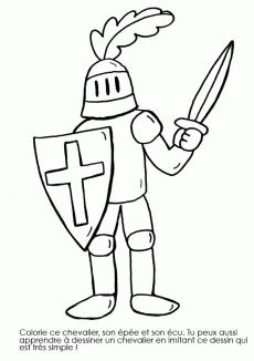 Coloriage imprimer chevalier en armure enfants - Dessin anime chevalier de la table ronde ...