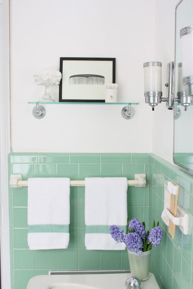 Our Vintage Jadeite Bathroom The Reveal Via Meet Me In