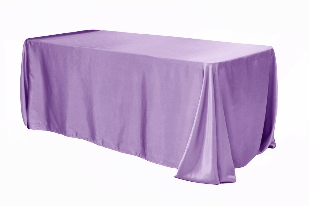 90 X156 Rectangular Satin Tablecloth Victorian Lilac Wisteria