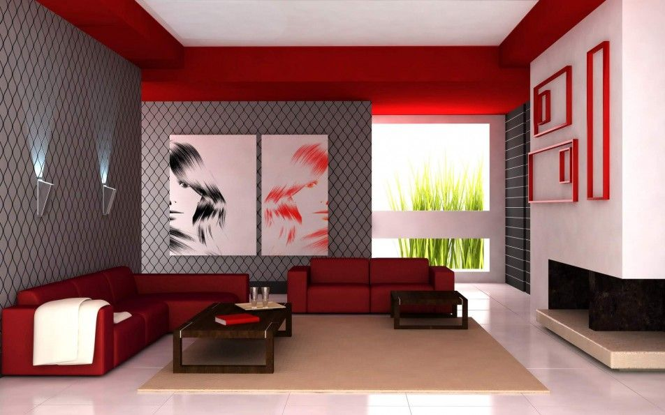[Interior] : Awesome Modern Livingroom Japanese Design Ideas With Red Lovely Couch And Wooden Coffee Table And White Flooring Tiles Also Red Wall Color Decor And Grey Wall Attractive Wall Picture And Wall Lamp