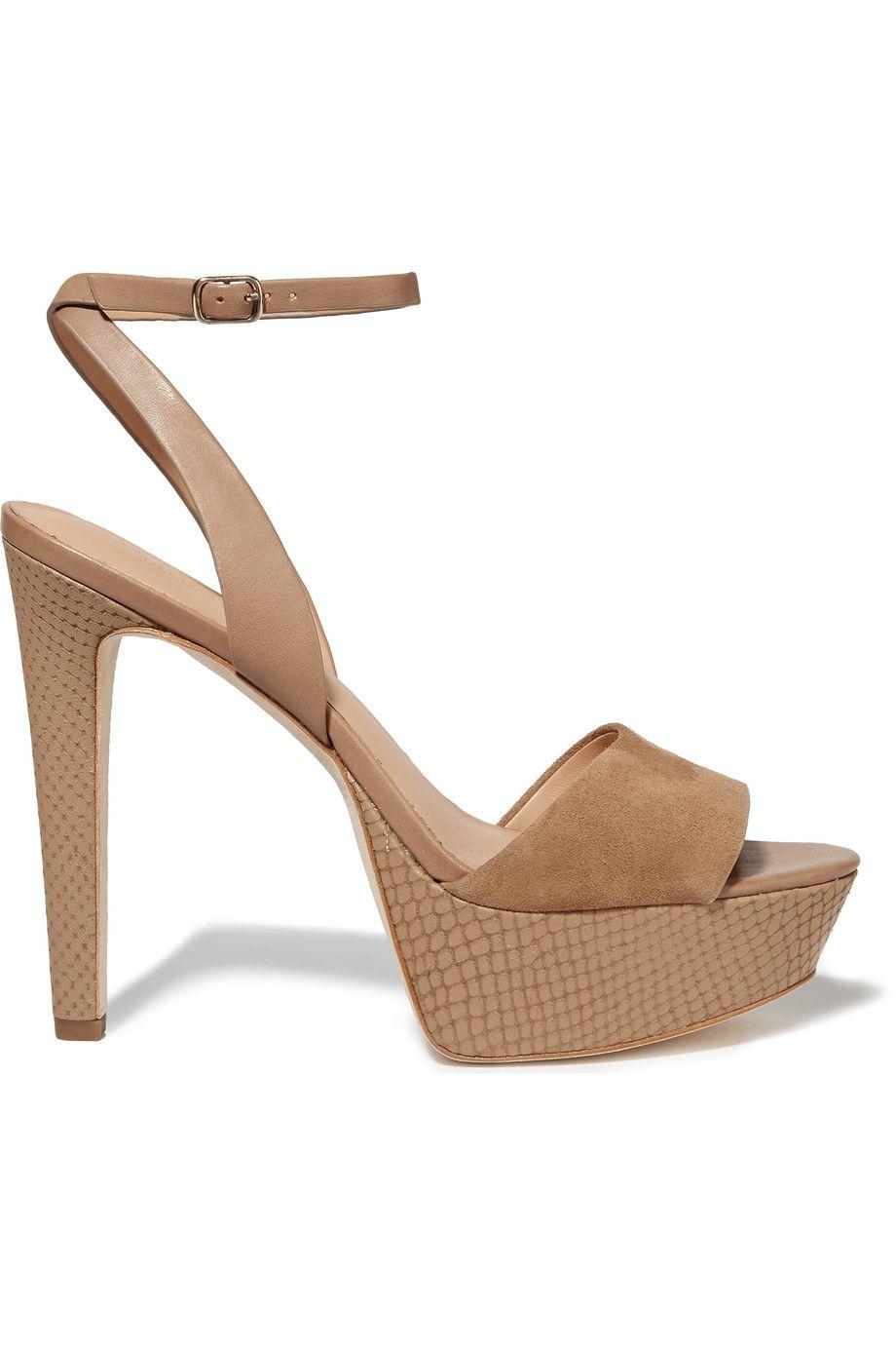 6d0634a6075 HALSTON HERITAGE Bobbie Leather And Suede Sandals. #halstonheritage #shoes # sandals
