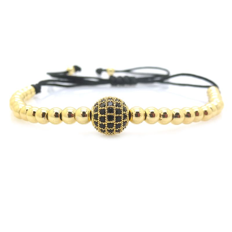 2016 Brand Men Bracelets Bangles,Real Gold Plated  8mm Micro Pave Black CZ Beads Braiding Macrame Men Bracelets,Valentine's Gift