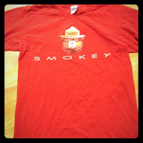 Cute Vintage Tee Smokey The Bear T Shirt USA Made Tops Tees