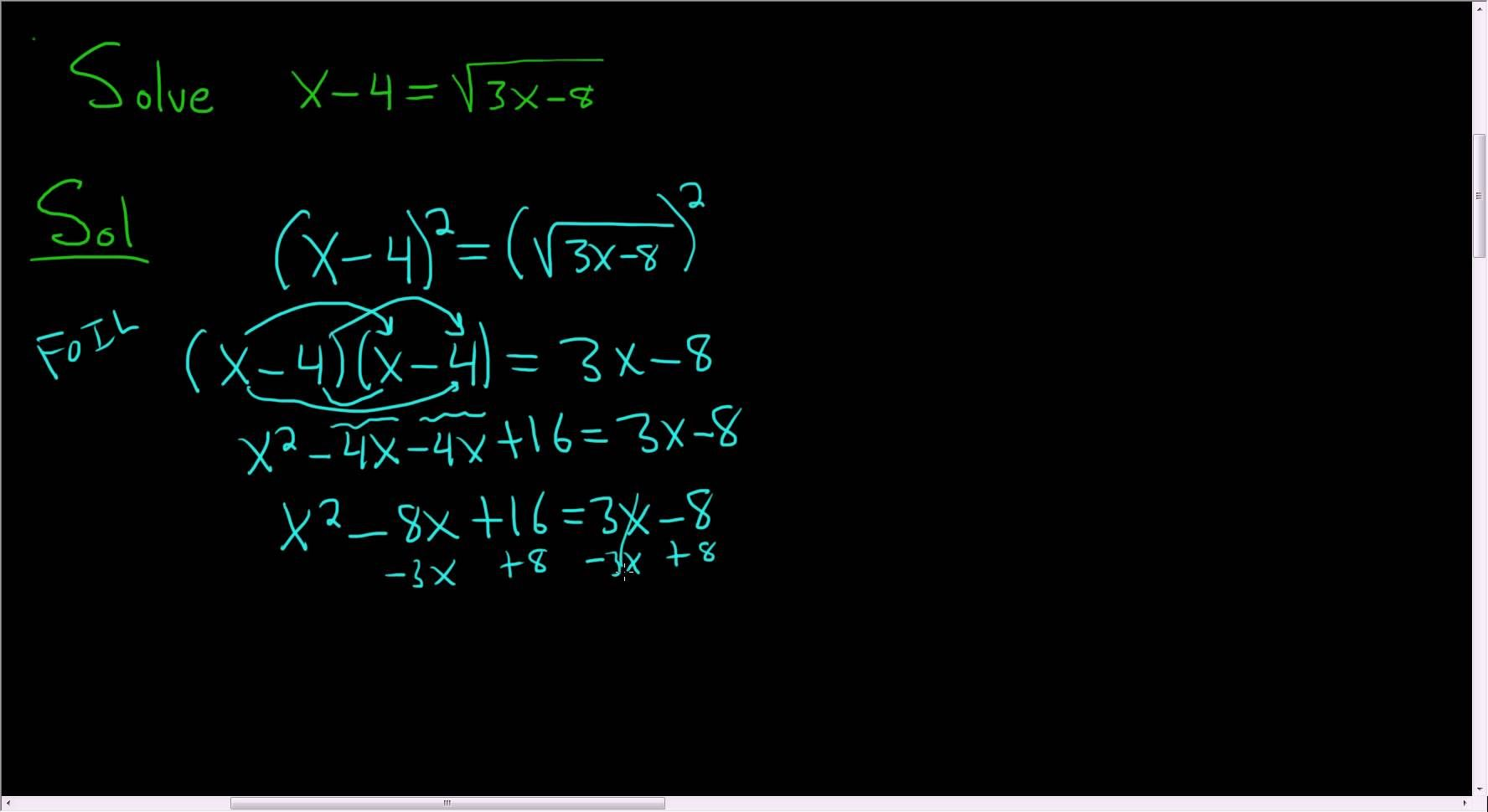 Solving An Equation With A Square Root X