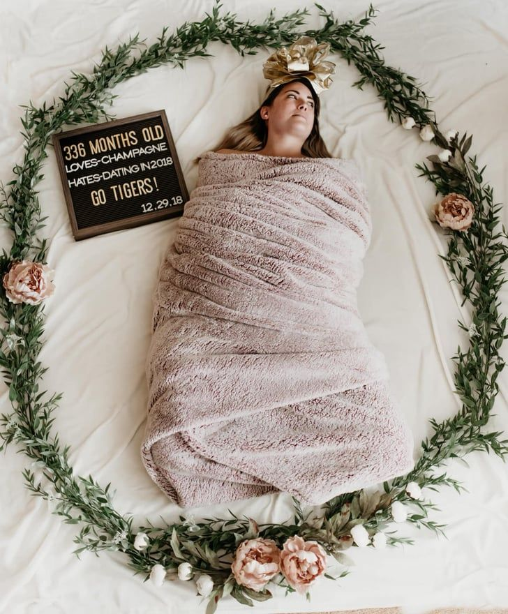 Woman Funny 336 Month Birthday Swaddle Photo Shoot | Woman Goes Viral For Swaddling Herself For a 336 Month Birthday Photo Shoot #birthdaymonth